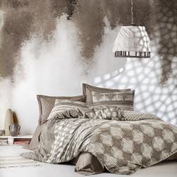 Lenjerie de pat pentru o persoana, Cotton Box, Tina Brown, 3 piese, bumbac ranforce, maro/crem