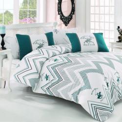 Lenjerie de pat pentru o persoana, Exclusive, Beverly Hills Polo Club, 3 piese, 160 x 240 cm, 100% bumbac ranforce, verde/alb/gri