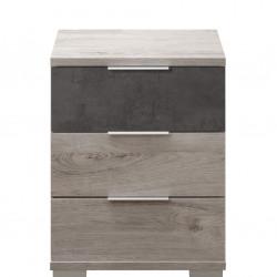 Noptiera Darwin cu 3 sertare, 46 x 61 x 42 cm, PAL, gri/bej