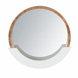 Oglinda de perete cu spatiu de depozitare, Wenko Finja, 38 x 39 cm, bambus/MDF, natur/alb
