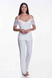 Pijama cu pantaloni lungi dama, Luisa Moretti, LMS-4036, 100% bambus, crem, marimea 34/36 - S