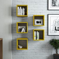 Raft pentru perete Box, Hommy Craft, 30x30x24 cm, galben