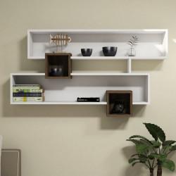 Raft pentru perete Karen, Puqa Design, 120x22x75 cm, aluna/alb