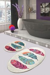 Set 2 covorase de baie Feather DJT, Chilai, 50x60 cm/60x100 cm, multicolor