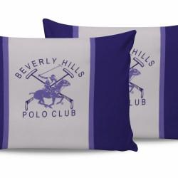 Set 2 fete de perna 50x70, 100% bumbac, Beverly Hills Polo Club, BHPC 029 - Lilac, Alb/Mov