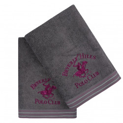 Set 2 prosoape de baie, Beverly Hills Polo Club, 405 Dark Grey, 70 x 140 cm, 100% bumbac