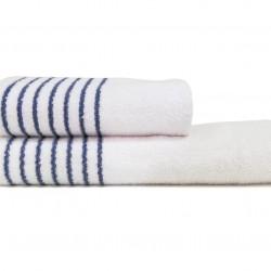 Set 2 prosoape de baie HT, Class, 100% bumbac, alb/albastru