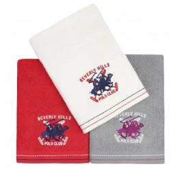 Set 3 prosoape de maini, Beverly Hills Polo Club, 401, 50x90 cm, 100% bumbac, alb/rosu/gri