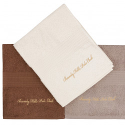Set 3 prosoape de maini, Beverly Hills Polo Club, Cream and Brown, 50 x 100 cm, 100% bumbac