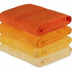 Set 4 prosoape de baie, Hobby, 50x90 cm, 100% bumbac, galben/portocaliu