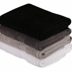 Set 4 prosoape de baie, Hobby, 70x140 cm, 100% bumbac, negru