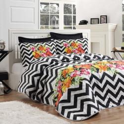 Set cuvertura de pat dubla, EnLora Home, Muco Black, 3 piese, 65% bumbac, 35% poliester, multicolor