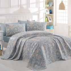 Set cuvertura de pat dubla, Eponj Home, Tuval Blue, 4 piese, 100% bumbac, bleu/crem