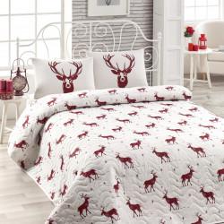 Set cuvertura de pat pentru o persoana Geyik - Claret Red, EnLora Home, 2 piese, 65% bumbac si 35% poliester, visiniu