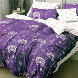 Set Lenjerie de Pat Finet Satinat, 6 Piese, Purple Flowers, FN-C263