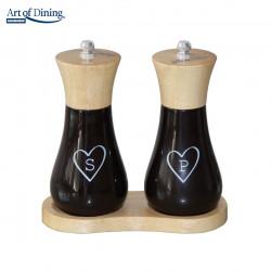 Set rasnite pentru sare/piper + suport Heart, Heinner, 15 cm, lemn/ceramica, negru/alb/natur