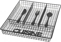 Suport organizare tacamuri Cuisine, 32.3 x 26 x 4.5 cm, metal, negru