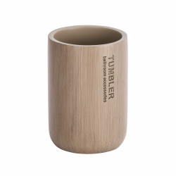Suport periute si pasta de dinti Palo Taupe, Wenko, 7.6 x 11 cm, bambus/polirasina, taupe