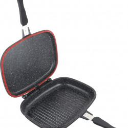 Tigaie dubla dreptunghiulara pentru plita cu inductie Dark Line, Cooking by Heinner, 32x24x7.5 cm, aluminiu, negru