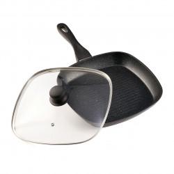 Tigaie grill cu capac Black Sand, Heinner, 28x4 cm, aluminiu turnat
