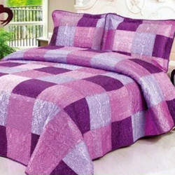 Set Cuvertură Mătase + 2 Fețe de Perne, Elegant Purple Squares, CCM-08