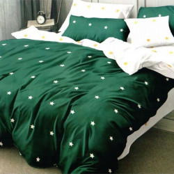 Set Lenjerie de Pat Finet Satinat, 6 Piese, Green Stars, FN-C264