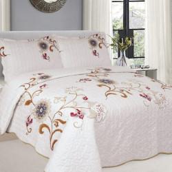 Cuvertura de pat + 2 Fete de Perne, Bumbac Tip Finet, Imprimata, Pat 2 persoane, CFI-87