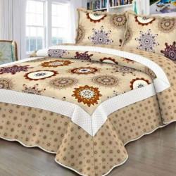 Cuvertura de pat + 2 Fete de Perne, Bumbac Tip Finet, Imprimata, Pat 2 persoane, CFI-97