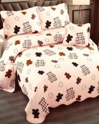 Cuvertura de pat si 4 Fete de Perna, Pat 2 Persoane, Bumbac 100%, Bear, E-S116