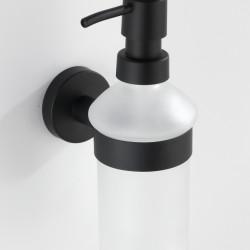 Dozator sapun lichid cu suport de prindere Bosio, Wenko Power-Loc®, 200 ml, inox/sticla, alb/negru