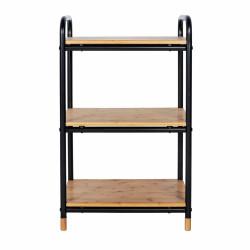 Etajera cu 3 rafturi Loft, Wenko, 33.5 x 42 x 69 cm, bambus/metal, natur/negru