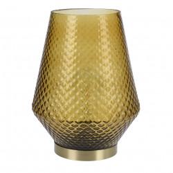 Lampa de masa Oriental, 21x21x27 cm, sticla, galben