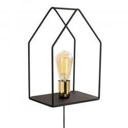 Lampa de perete Opviq Ev, 21x33 cm, E27, 100 W, negru/auriu