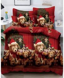 Lenjerie de Pat din Finet cu 2 Fete, 6 Piese, Pat 2 Persoane, Christmas Bear, FNJC-10