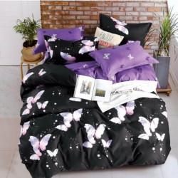 Lenjerie de Pat din Finet, Pat 2 Persoane, Purple Butterflies, FNJ-136