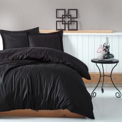 Lenjerie de pat dubla, 4 piese, 100% bumbac satinat, Cotton Box, Premium Stripe, negru