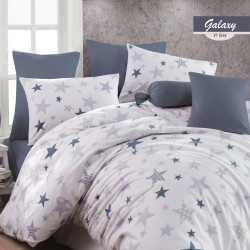 Lenjerie de pat dubla Galaxy, Majoli Home Collection, 4 piese, 200x220 cm, 100% bumbac ranforce, multicolor