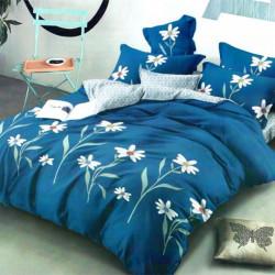 Lenjerie de Pat Finet Satinat, 6 Piese, Blue Flowers, FNM-66