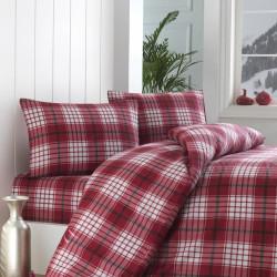 Lenjerie de pat pentru doua persoane, Eponj Home, Burberry, 4 piese, policoton, rosu/alb