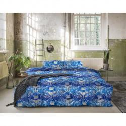 Lenjerie de pat pentru doua persoane, Royal Textile, Primaviera Deluxe Jane Blue, 3 piese, 100% bumbac satinat, multicolor