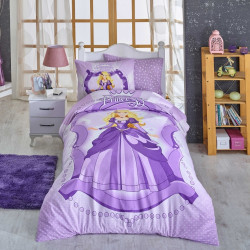 Lenjerie de pat pentru o persoana, 3 piese, 100% bumbac ranforce, Hobby, Princess Lilac, multicolor