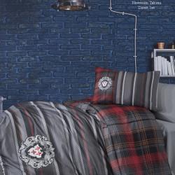 Lenjerie de pat pentru o persoana, 3 piese, The Club Cotton, Adel Grey, bumbac ranforce, 145 TC, multicolor