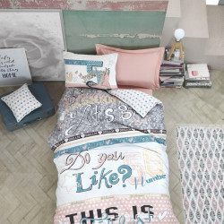 Lenjerie de pat pentru o persoana, Cotton Box, Fashion Powder, 3 piese, bumbac ranforce, multicolor