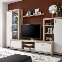 Mobilier pentru living, Luna, 1 x polita, 1 x comoda, 2 x dulapuri, PAL, bej/alb