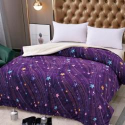 Patura Cocolino Dublă cu Blăniță, Pat 2 Persoane, Purple Galaxy, PDBJ-43