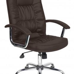 Scaun de birou ergonomic, Bedora Abraj, piele ecologica, maro