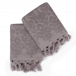 Set 2 prosoape de maini 50x90 cm, 100% bumbac, Saheser, Bağlamalı Kilim Lilac
