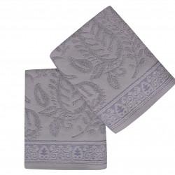 Set 2 prosoape de maini 50x90 cm, 100% bumbac, Soft Kiss, Noktalı Şal, gri