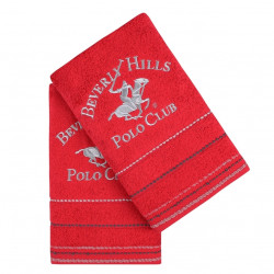 Set 2 prosoape de maini, Beverly Hills Polo Club, Red, 50 x 100 cm, 100% bumbac