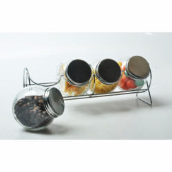 Set 4 borcane pentru condimente si suport, Jocca, Ø8 cm, 200 ml, sticla/inox